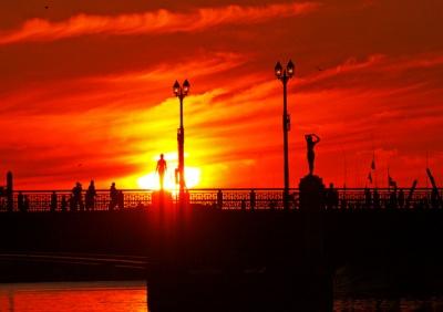 幣前橋からの夕陽